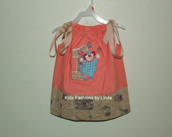 Salmon/Vintage Latte Pillowcase Dress with Applique Number and Clown Juggler -Personalization NOT included