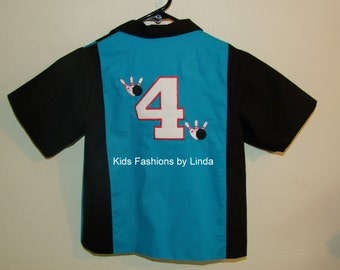Personalized Turquoise/Black Bowling Shirt with Number on Back