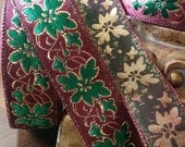 "1"" Vintage French Brocade Ribbon Trim #182-03 Metallic burgundy red, green , gold"