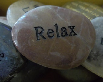Relax Engraved Energy River Rock