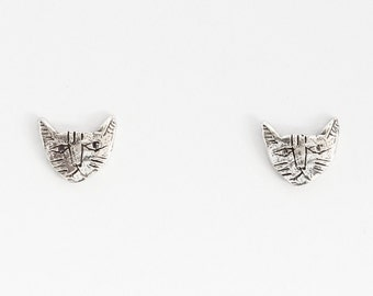 Silver tiny cat earrings
