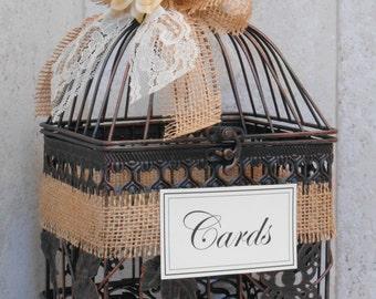 Birdcage Wedding Card Holder / Card Box / Wedding Cardholder / Rustic Birdcage / Wedding Decoration / Small Birdcage / Burlap Wedding Decor