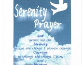 Dove in Clouds Serenity Prayer greeting card