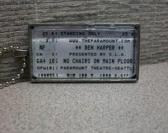 Ben Harper concert ticket stub necklace or keychain