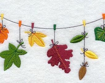 Autumn Leaves Clothesline Embroidered Flour Sack Hand/Dish Towel