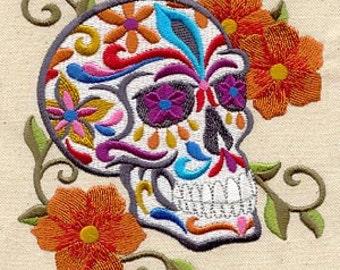 Calavera Skull Mexican Culture Dia De Los Muertos Embroidered Flour Sack Hand Towel