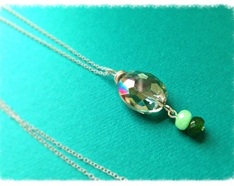"Sophisticated faceted crystal pendant// sterling silver //18""L"
