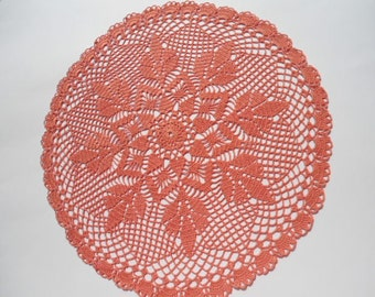 Сrochet doily , Round doilies,  lace , tablecloth , rose ash , 17 ""