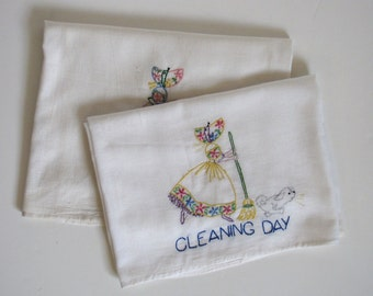 Vintage White Tea Towels with cute bonnet girl - Market Day - Cleaning Day