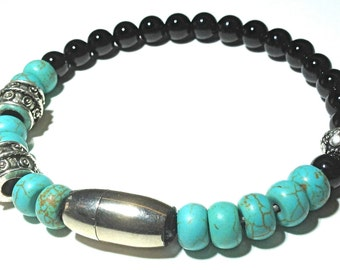 STRIKER. Mens Turquoise and Onyx Silver Bracelet