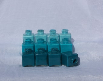 Teal Ombre Mini Vases - Set of 12
