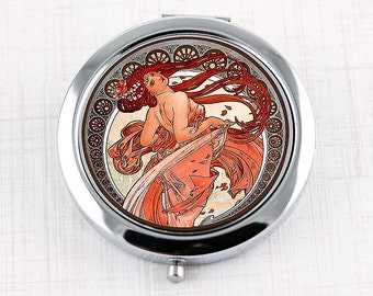 Art Nouveau Compact Mirror with Alphonse Mucha Dance Design, Vintage Poster Dancing Girl with Red Hair, Woman Gift, Bridesmaid Gift