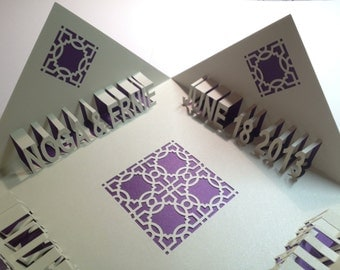 HAPPY ANNIVERSARY 3D Pop Up Greeting Card In Metallic Purple and Off White Folds in all Four Corners Handmade CUSToM ORDeR Home Décor OOAK
