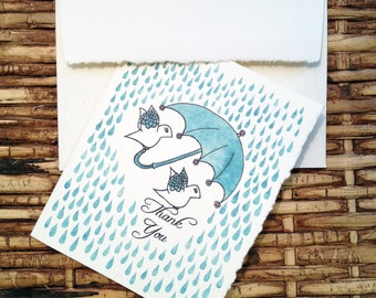 "Thank You Birds (Rain) Greeting Card - Say ""thanks"" with this sweet little card."