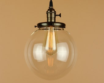 Pendant Lighting w/ Large 8 inch Clear Glass Globe - Antique Style Cloth Wire - Hand Finished in Oil Rubbed Bronze