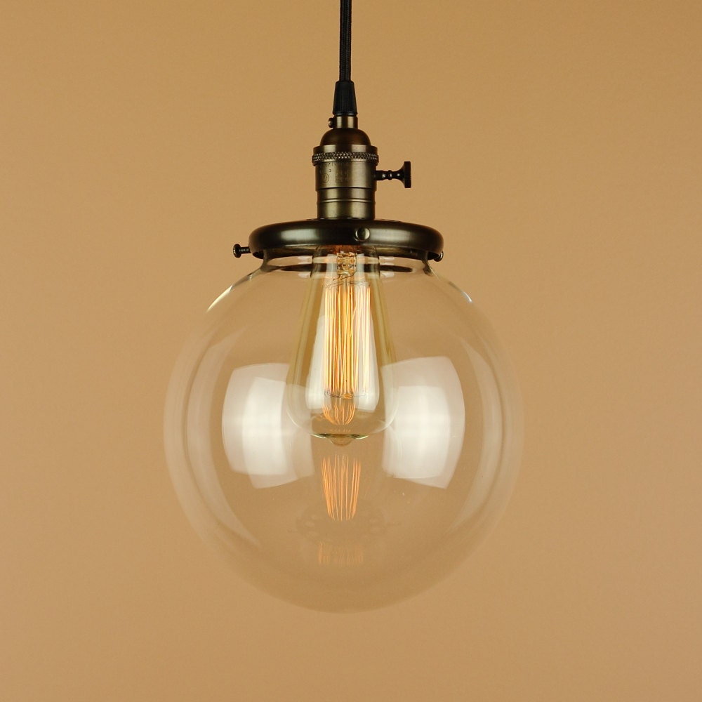 Pendant Lighting W/ Large 8 Inch Clear Glass Globe Antique