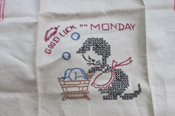Vintage Linen Dish Towel with Embroidered Cat Doing Laundry