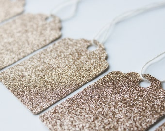 Champagne Glitter Gift Tags - Christmas Gift Tags - Beige - Gift Tag - 10 Pieces - Glamorous - Bridal - Wedding - Dainty - Handmade - Taupe