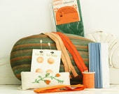 Vintage Sewing Accessories - Old Sewing Collectibles - Orange, Green and Blue Sewing Notions - Sewing Supplies
