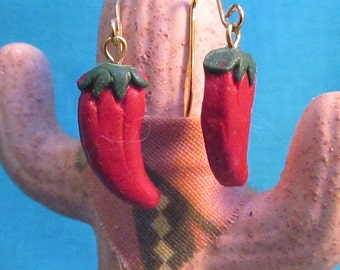 Red or Green Polymar Clay Chili Pepper Earrings