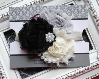 Vintage Black White and Cream Shabby Headband