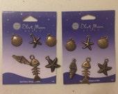 Beach theme charms: starfish, sand dollar, fishbone, shell