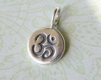 Sterling Silver OM Circle Tag, Yoga Zen Buddhist Charm Pendant, 8x13mm