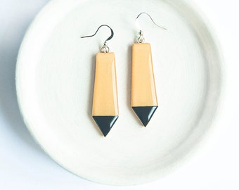 Black yellow earrings Geometric minimalist jewelry long earrings unusual modern jewelry geometric