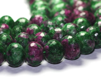 Ruby in Zoisite Micro Faceted Rondelle One Huge Green Raspberry Pink Semi Precious Gemstones