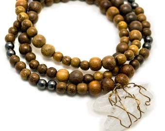 Wood mala beads with Calcite wire wrapped pendants - mala necklace - yoga jewelry
