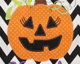 Halloween Girly Jack O Lantern  Digital Embroidery Design Machine Applique
