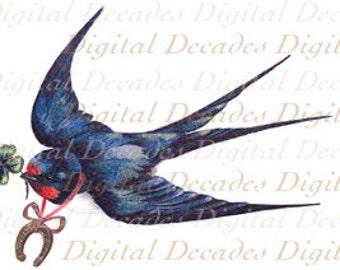 Blue Bird of Happiness Horseshoe Four Leaf Clover Lucky Luck Flowers - Digital Image - Vintage Art Illustration