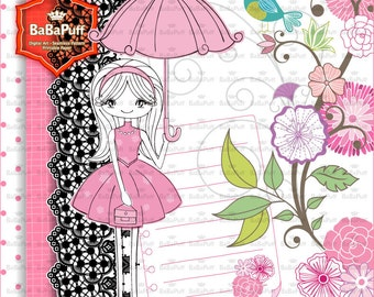 Instant Downloads, French Dress Girl and Flowers Clip Art, Lace Border, Digital Papers. For Your Personal and Small Commercial Use. BP 0806