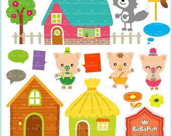 Instant Downloads, 3 Little Pigs & Wolf Fairy Tale Clip Art. Personal and Small Commercial Use. BP 0282
