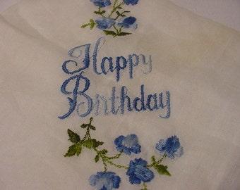 Vintage Happy Birthday Embroidered Flowers  Handkerchief   354
