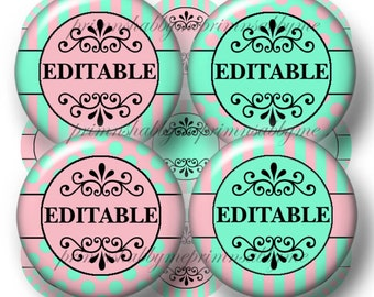 Editable, Bottle Cap Images, Digital Collage Sheet, Instant Download, 1 Inch Circles, Aquamarine, Pink, Polka Dots and Stripes (No.1)