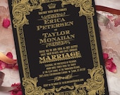wedding invitations with rsvp, black and gold wedding invitation, formal wedding invitation, black tie wedding, elegant gold wedding, IN225