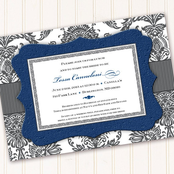 bridal shower invitations, cobalt bridal shower invitations, navy blue bridal shower invitations, blue and gray wedding invitations, IN218