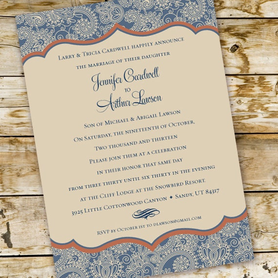 wedding invitations, blue paisley wedding, country wedding, southern bride, blue and ivory wedding invitation, cowgirl bridal shower, IN223