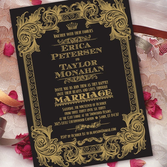 wedding invitations with rsvp black and gold wedding
