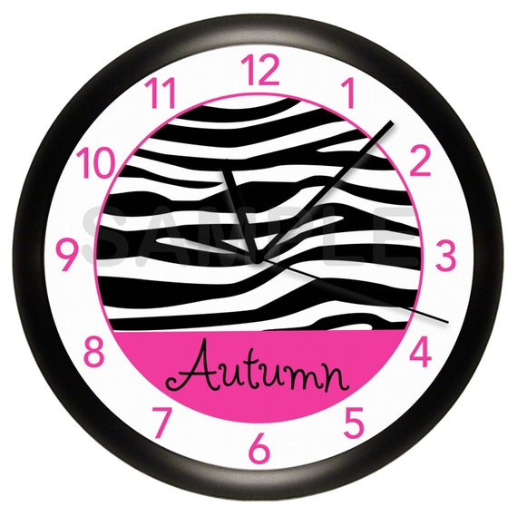 Personalized Hot Pink and Black Zebra Print Nursery Wall Clock Teal Blue Lime Green Purple