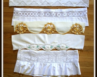 Hand Crocheted Pillowcase Edging, Vintage Lace