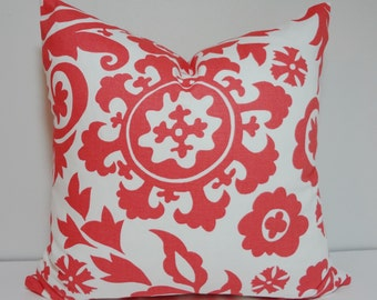 SALE Coral Suzani Print Pillow Cover Decorative Pillow Accent Pillow 16x16