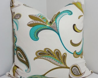 Covington Savannah Turquoise & Lime Green Paisley Floral Print Throw Pillows 18x18