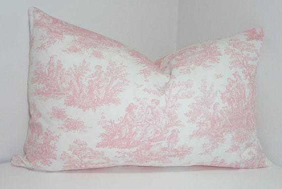 Pink White Toile Lumbar Pillow Cover Baby Girl Nursery Throw