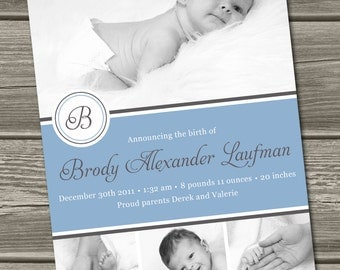 Baby Boy Birth Announcement (Digital File) Mitchell - I Design, You Print