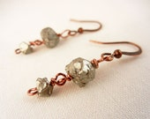 Tiny raw pyrite drop earrings - simple rough stone and copper earrings - pyrite jewelry.