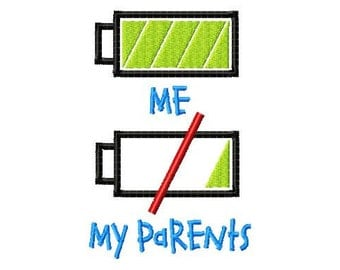 Battery - Me - My Parents - Machine Embroidery Design - 7 Sizes