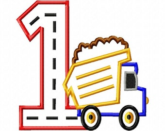 Dump Truck - 1 - Applique - Machine Embroidery Design -  5 sizes