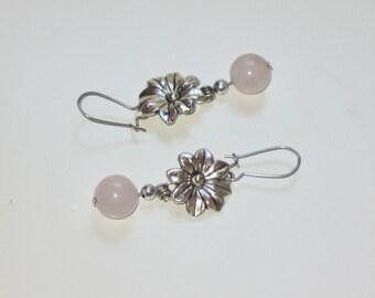 Silver flowers rose quartz earrings